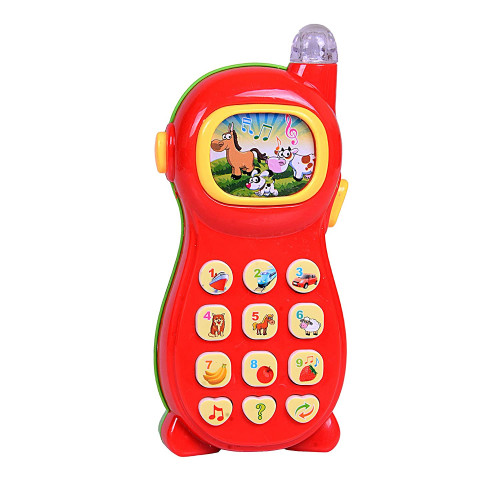 Learning Mobile Phone Toy for Kids with Image Projection and Attractive Sound and Lights , Multi Color (Learner Phone), Plastic, Pack of 1