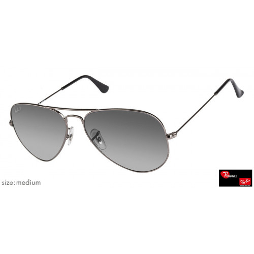 Ray-Ban RB3025 Medium (Size-58) Gunmetal Blue Grey Gradient 004/78 Men Polarized Sunglasses