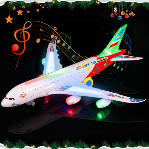 Airplane Toys for Kids with Bump and Go Action Battery Operated Airbus A380 Action Toy Plane with Flashing Lights, Real Jet Sound (Air Plane)