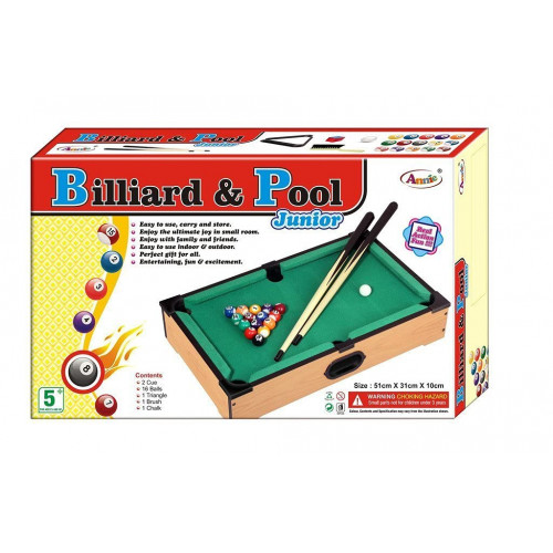 Billiard and Pool Table Annie Junior for Kids 16 Balls and 2 Cue Sticks Indoor Playing Game (51x31 Cms)