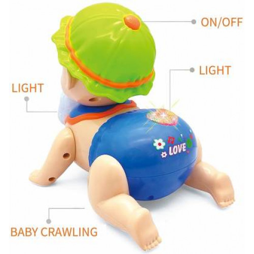 Musical Baby Crawling Toy for Kids with 3D Lights & Music Running and Weeping Baby Crawling Kids Pack of 1, Multicolor