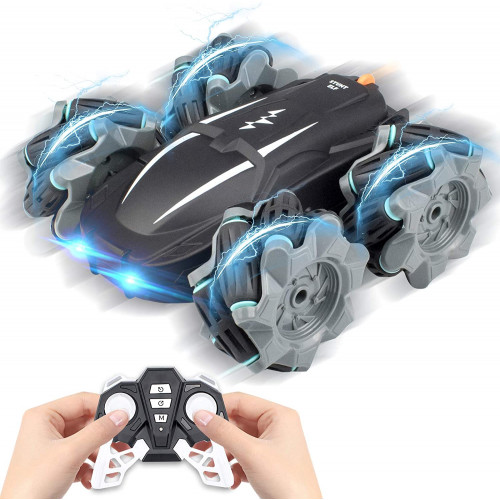 Best Gift for Kids, Remote Control Car,360° Rotation Drift Stunt ELF, Rechargeable Vehicle with Cool Lights, High Speed, Flexible Steering, Anti-Interference 4WD RC Car with One-Click Demo (Black)