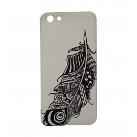 Feather Black & White Design On Mobile Cover