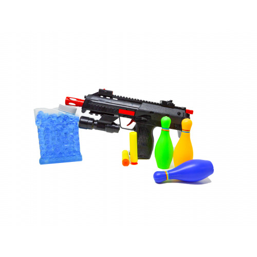 Plastic PubG Theme Gun Toys Set with Assault Rifle, 4X Design Scope, Water and Soft Foam Bullets Role Play Game for Kids