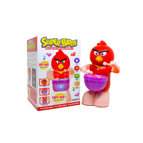 Angry Bird Happy Drummer with Light, Music and 360 Degree Rotating
