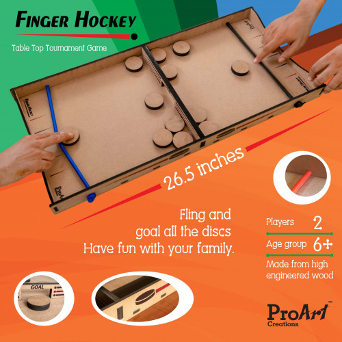 PRO ART FINGER HOCKEY BOARD GAME,Fast Paced Board Winner Game for Kids & Adults