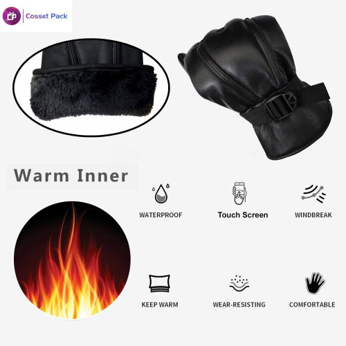 Black Solid Leather Warm Winter Riding Gloves, Protective Cycling Bike Motorcycle Gloves (XL).