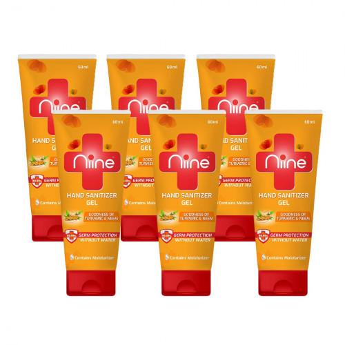 Niine Gel based Hand Sanitizer Tube 60 ml Flip Flop Tube Pack of 6