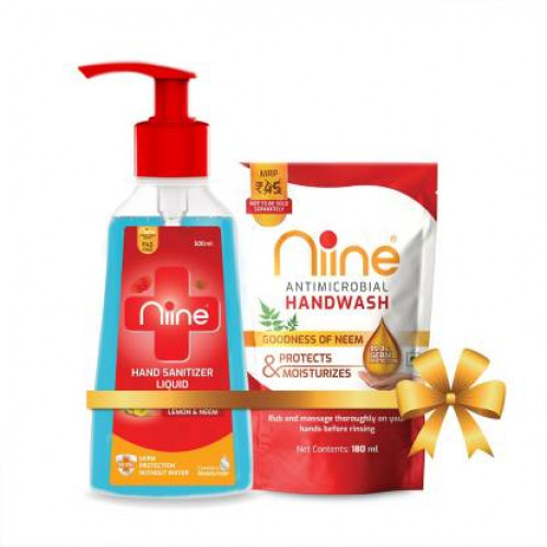 Niine Liquid Pump with Goodness of Lemon and Neem, 500 ml Pump + 180ml Hand wash Refill