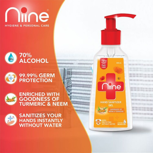 Niine hand Sanitizer Gel pumps 500 ml + 180 ml Hand Wash Refill