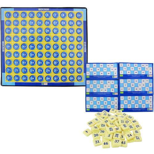 Housie Board Game with 48 Reusable Cards & Tile Fixable Board Game