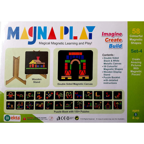 magna play magical magnetic learning (set of 58 colourful shapes, ages 5+)- Multi color