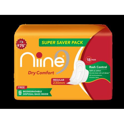 Niine Dry Comfort Regular 230 MM Sanitary Pads (Super Saver Pack)