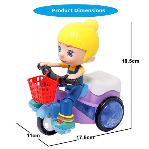 battery operated stunt tricycle bump and go dancing toy with 4D lights for kids