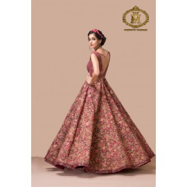 Beautifully designed net floral backless gown