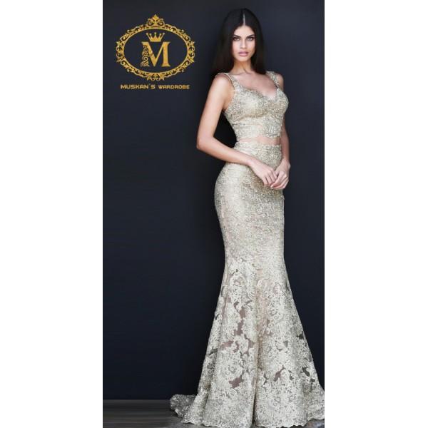 White-golden-coloured-fish-cut-designer-skirt-top-dress