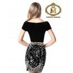 Black fancy velvet short dress ( measurement in comment box )