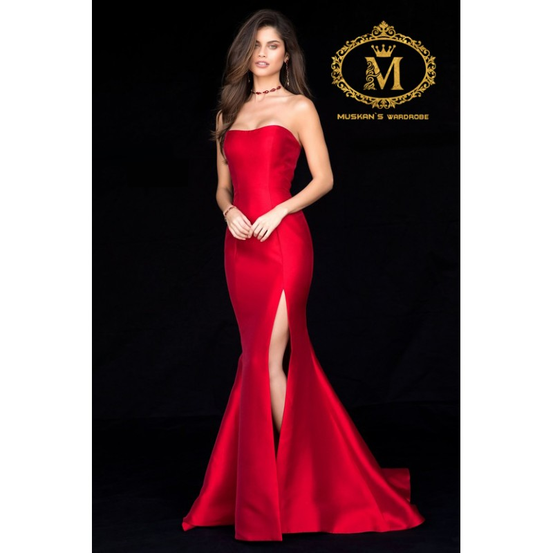 Elegantly Designed Red Tube Gown Measurment In Comment Box