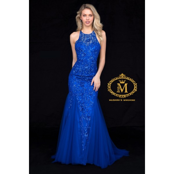 Royal blue coloured fish cut sleeveless gown ( Measurment in Comment box )