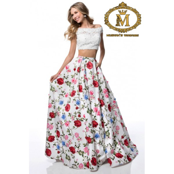 White off shoulder crop top with floral skirt