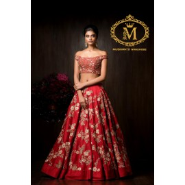 Red off-shoulder lehnga with beautiful floral design