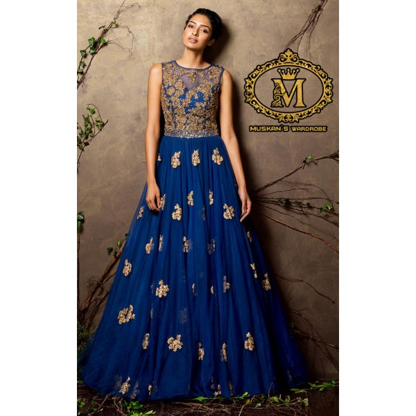 navy blue coloured georgette indian sleeveless gown