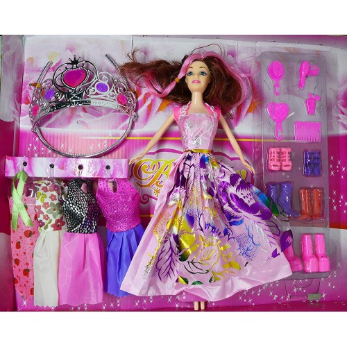 Girl's Fashion Princess Doll with Dresses and Accessories (Multicolour)