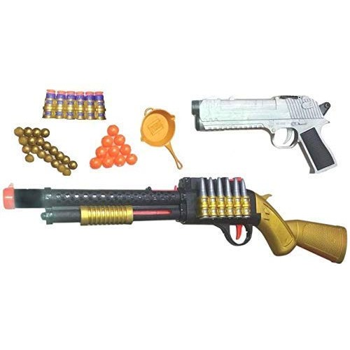 Plastic PUBG Refile with Pistol Toy Gun Set for Childrens 2 in 1